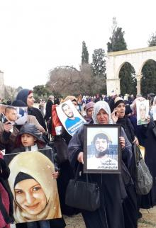 وقفة تضامنية لأهالي أسرى القدس في المسجد الأقصى