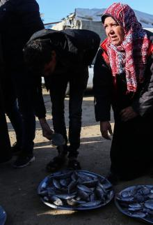 أم جميل سيدة فلسطينية تبيع السمك في قطاع غزة