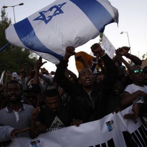 إثيوبيون يتظاهرون ضد عنصرية إسرائيل في القدس