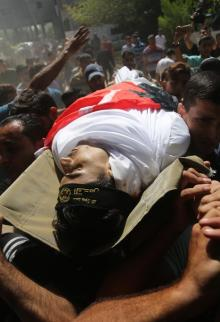 تشييع جثمان الشهيد الشاب عماد داوود اشتيوي في غزة