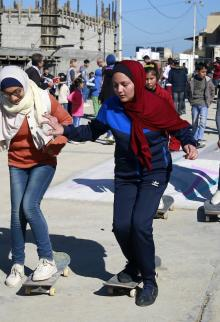 التدريب على التزلج في ميناء غزة
