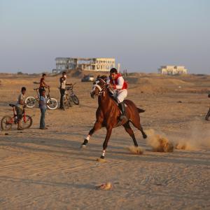 سباقات مختلفة قرب موقع مطار غزة المدمر