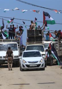 مسيرة شاحنات شمال القطاع رفضًا للحصار وتداعياته