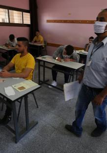 أول يوم في امتحانات الثانوية العامة بقطاع غزة