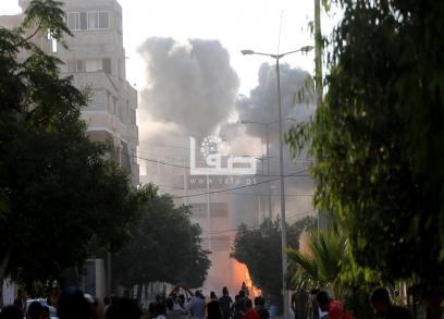 قصف الاحتلال مبنى مؤسسة سعيد المسحال بغزة