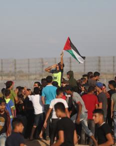جانب من المواجهات في جمعة لا للتطبيع شرقي غزة