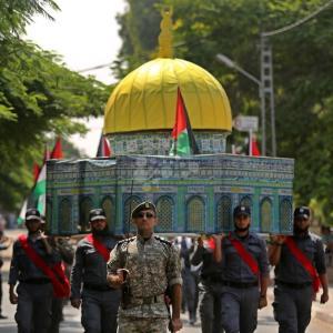 استعراض عسكري لداخلية غزة تضامنًا مع الأقصى