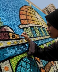 جدارية بغزة دعمًا للأقصى