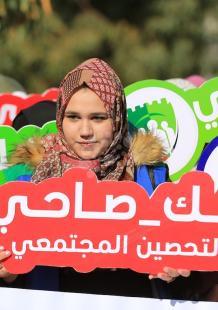 فتيات يشاركن بحملة خليك صاحي