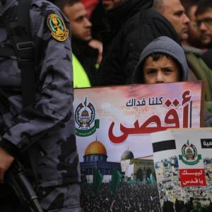 مسيرة لحماس في غزة رفضًا لإعلان ترمب