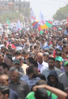 مسيرات نذير الغضب في قطاع غزة