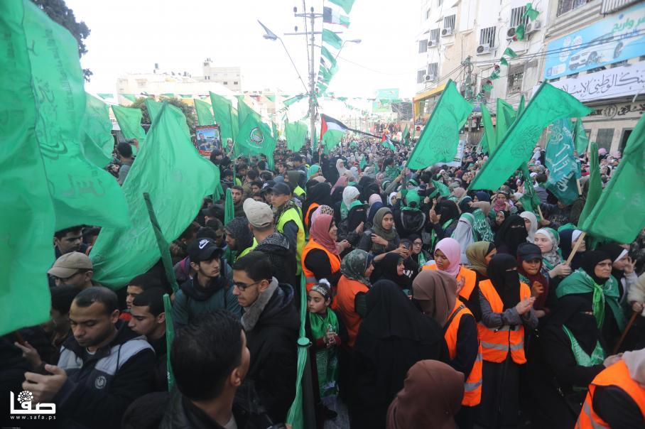 مسيرة جماهيرية لحماس بذكرى انطلاقتها الـ32 وسط غزة