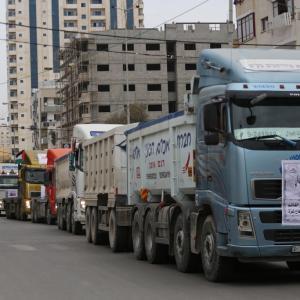 مسيرة شاحنات بغزة احتجاجاً على تردّي الوضع الاقتصادي