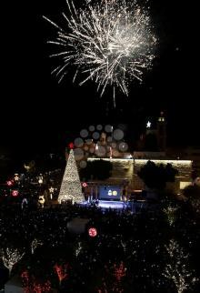 إضاءة شجرة الميلاد في بيت لحم