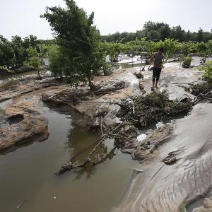 انهيار حوض صرف صحي جنوب غزة