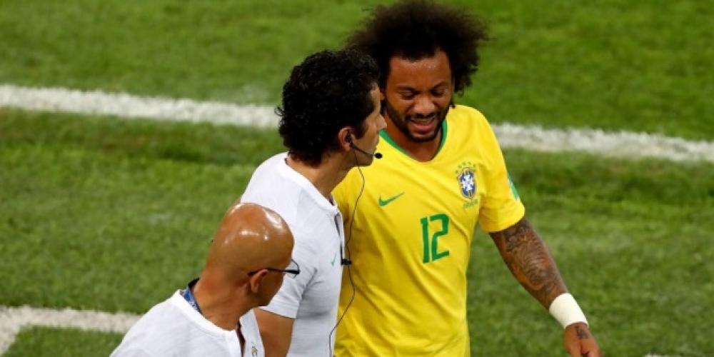 مارسيلو تعرض للإصابة في مباراة صربيا