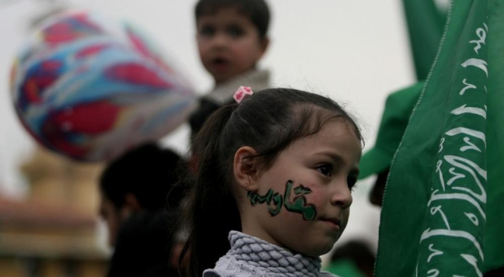 طفلة مشاركة بمسيرة لحماس في غزة