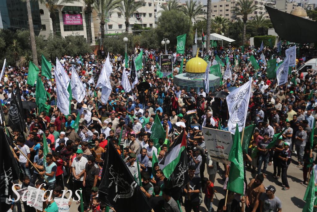 وكالة الصحافة الفلسطينية - عشرات الآلاف يتظاهرون بقطاع غزة نصرة للأقصى